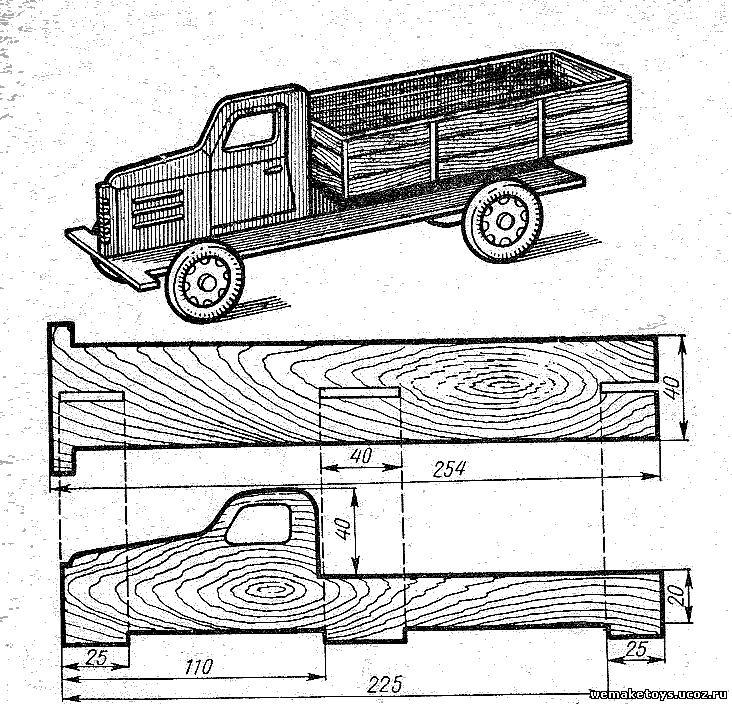 Схема модели машины из дерева