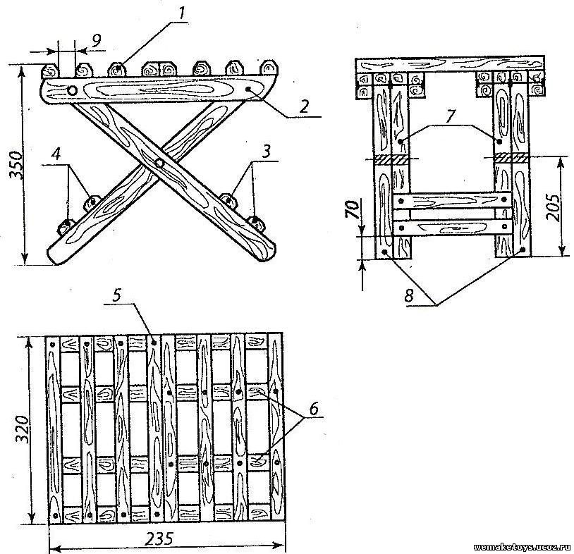 Деревянный раскладной стул своими руками чертежи